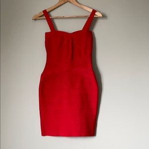 Herve Leger Red Bodycon Dress with Sweetheart Neck